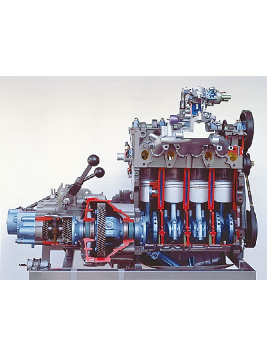 Engine of a VW Golf with transmission